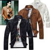 W Korea Men Slim Fit Designed Synthetic Leather Coat Jacket 3 SIZE 3 Color