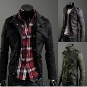 Men's Casual Stylish Slim Fit Zip Coat Jacket 3 Color M~XXL