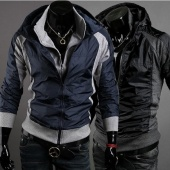 Men's Slim Fit Sexy Hoodies Coats Jackets Double Zipper 2 Colors 4 Size