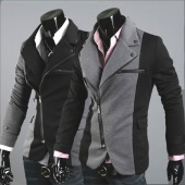 Men Cool Slim Casual Blazer Suit Top Zip Dress Jacket Black Dark Grey Fashion