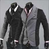 Men Cool Slim Casual Blazer Suit Top Zip Dress Jacket Black Dark Grey Fashion