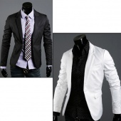 Mens Fashion Casual Slim Fit One Button Blazer Coat Jacket 2 Colors 3 Sizes