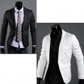 Mens Fashion Casual Slim Fit One Button Blazer Coat Jacket 2 Colors 3 Sizes