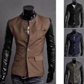 Men PU Leather Splice Casual Suit Coat Jacket New 4 Colors/ Sizes