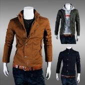 Men's Stylish Casual Slim Fit Zip Coat Jacket Tops 3 Colors
