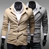 Men's Stylish Pocket Design Casual Pure Color Jackets Coat Outwear