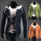 Fashion Slim Fit Men's Hoodie Duffle Toggle Coats Jackets Overcoat 3 Colors