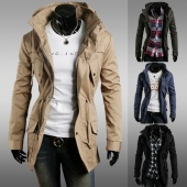 Casual Cool Men Male Long Sleeve Stand Collar Coat Jacket Pocket 4 Colors