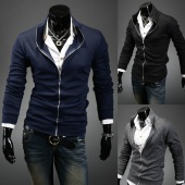 Men Long Sleeves Stand Collar Casual Coats Jackets Tops 3Colors 4Sizes
