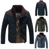 Men's Winter Warm Thermal Wadded Jacket Cotton-padded Coat Winter Slim Fitted Thicken Coat Outerwear