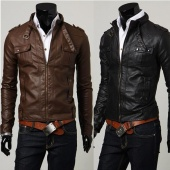 Classic Men's Slim Designed Leather Coat Short Jacket 2 Colors 4 Sizes