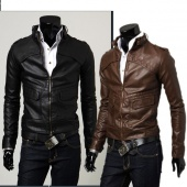 Men's Slim Fit Top Designed PU Leather Short Jacket Coat Outerwear Black/Brown