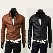 "Men""s Designed PU Leather Short Slim Fit Top Jacket Coat Outerwear 2 Colors M~XXL"