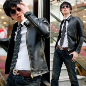 Men's Sexy Slim Top Designed Synthetic Leather Short Jacket Coat Black