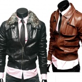 Men Stylish Slim Fit Faux Leather Empire Waist Faux Fur Zipper Jackets Coat