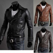 "Men""s Slim Fit Top Designed Sexy Synthetic Leather Short Jacket Coat 4 Color 4 Size"