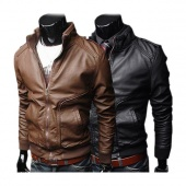 "Fashion Stylish Men""s Stand Collar Slim Fit PU Leather Jackets Coat Outwear Brown/ Black"
