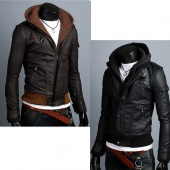 Men's Slim Designed PU Leather Hoody Jacket Coat Top 2color 4size