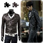 Mens Synthetic Leather Slim Fit Punk Zip Motorcycle Biker Jacket Trench Coat M-XXL