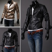 "Men""s Slim Fit Zipper Thin Jackets Faux Leather Stand-up Coat Size M-XXL"