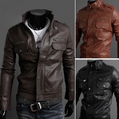 Men's Slim Stylish Synthetic Leather Fit Zip Casual Coat Jackets 3 Colors M-XXL