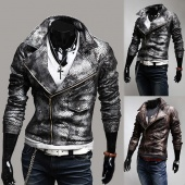 Men Stylish Slim Big Turndown Fashion Brief Paragraph Leather Jacket Coat