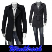 Men's Fashion Korea Slim Classic Double Breasted Wool Coat Jacket Windbreak M L XL XXL 2 Color