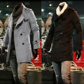 Men's Korea Slim Classic Double Breasted Wool Coat Jacket Windbreak 2 Colors