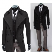 Men's Gentlemen Style Cowl Collar Trendy Slim Double Breasted Long Trench Coat Jacket Outerwear