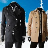 Men's Winter Fashion Style Double-breasted Woolen Blends Parka Coat 3 Color 3 Size