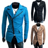 Fashion Casual Men's Slim Fit Inclined Zipper Windbreaker Blazer Coat Jacket