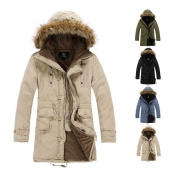 Men's Cloth Hooded Winter Long Coat Outerwear Warm 4Colors 5Sizes