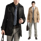 Men's Trench Coat Slim Fit Long Jacket Outwear Double Breasted Overcoat 2 Colors
