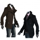 Men Winter Fashion Slim Fit Trench Coat Jacket Black Brown S-XL