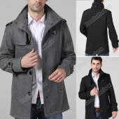 Fashion Men's Funnel Neck Wool Military Coat/Jacket 2 Colors
