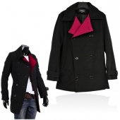 Fashion Blendent Turndown Men's Double-breasted Jackets Slim Fit Outcoat Tweed Coat