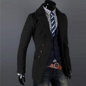 Men Single-breasted Luxury Wide-lapel Winter Coat Jacket Overcoat Jacket 2 Colors 4 Sizes