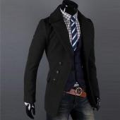 Men Single-breasted Luxury Wide-lapel Winter Coat Jacket Overcoat Jacket 2 Colors 4 Sizes
