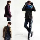 Men Stand-up Fashion Cool Tunic Suit Design Winter Wool Lapel Coat Jacket
