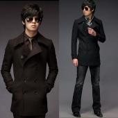 Englant Men's Casual Slim Long Sleeve Double-Breasted Woolen Coat Overcoat