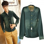 "Fashion Korean Men""s Top Corduroy Shirt Long Sleeve Classic Fit Button"