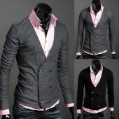 Fashion Men's Casual Double-Breasted Slim Fit Stylish Wool V-Neck Coat