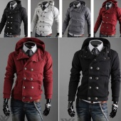Men's Trendy Slim Fit Top Coat Double Breast Sexy Hoodies Sweatshirt Jacket ENE