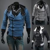Korea Men's Fashion Stylish Slim Fit Zip Hooded Hoodies Long Sleeve Jackets Coats Tops 3 Color 4 Size