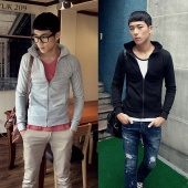 Men Stand Collar Trend Zip Up Fashion Long Sleeve Slim Fit Coat Jacket