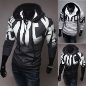 Men Letters Printed Zip Hooded Hoodie Sweatshirt Tops 3 Colors 4 Size Coat Jacket
