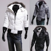 Men's Winter Slim Quilted Fur Outwear Hooded Zip Up Coat Jacket