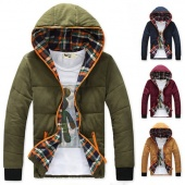 "Men""s Winter Warm Outdoor Thicken Short Hooded Coat Jacket Down Outwear 4Colors 4Size"