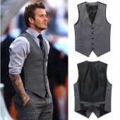Men Fashion Slim Fit Casual Waistcoat Vest Suits Tops Gray M L XL XXL