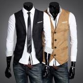 Men Slim Fit Top Designed Casual Skinny Vest Waistcoat